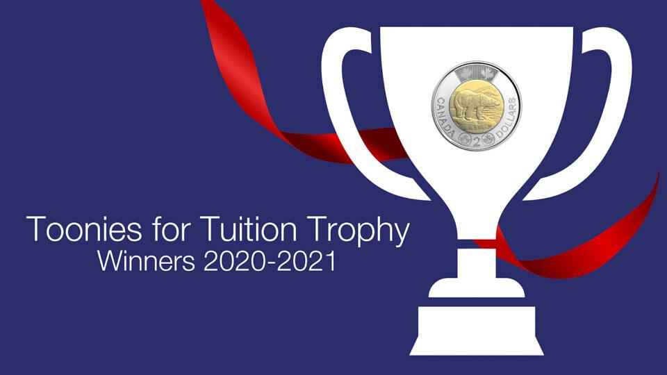 """Graphic / Graphique - Toonies for Tuition Trophy winners / es gagnants du trophée """"Toonies for Tuition""""2021-2021"""